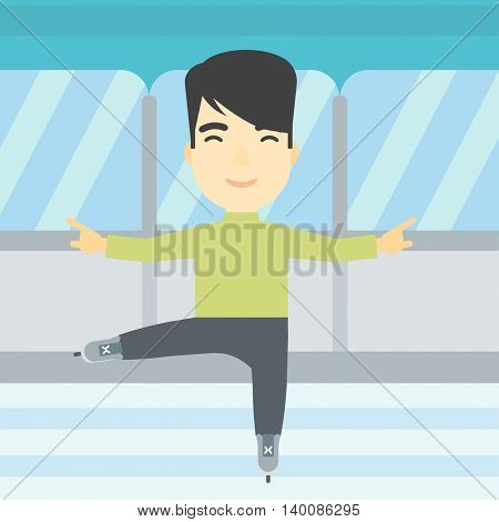 An asian figure skater with the beard performing on indoor ice skating rink. Young hipster male figure skater dancing. Vector flat design illustration. Square layout.
