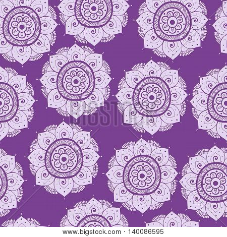 Seamless abstract hand-drawn oriental doddle pattern purple color. Seamless pattern can be used for pattern fills web page backgroundsurface textures. floral background