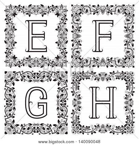 Vintage monograms set. E F G H outline letters in square floral frames.