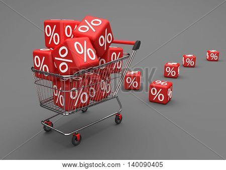 Shopping Cart Red Percent Cubes