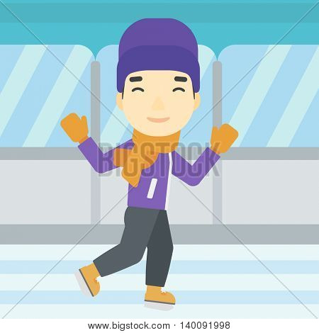 An asian young man ice skating on indoor ice skating rink. Sport and leisure concept. Vector flat design illustration. Square layout.