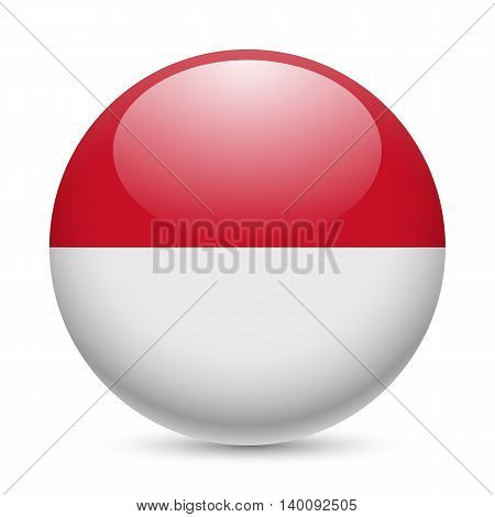Flag of Monaco as round glossy icon. Button with Monacan flag