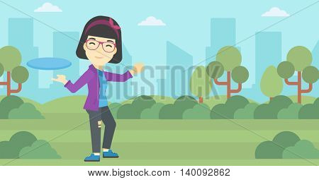 An asian sportive woman playing flying disc in the park. Young woman throwing a flying disc. Sportswoman catching flying disc outdoors. Vector flat design illustration. Horizontal layout.