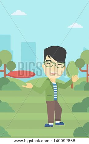 An asian sportive man playing flying disc in the park. Man throwing a flying disc. Sportsman catching flying disc outdoors. Vector flat design illustration. Vertical layout.
