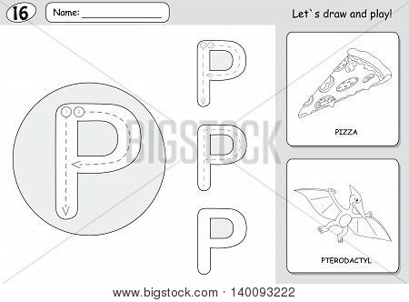 Cartoon Pizza And Pterodactyl. Alphabet Tracing Worksheet: Writing A-z And Educational Game For Kids