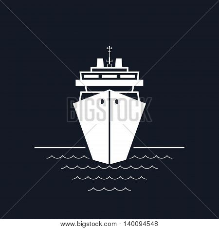 Cruise Ship Isolated on Black Background, a Front View of the Passenger Ship, Travel and Tourism Concept,Vector Illustration
