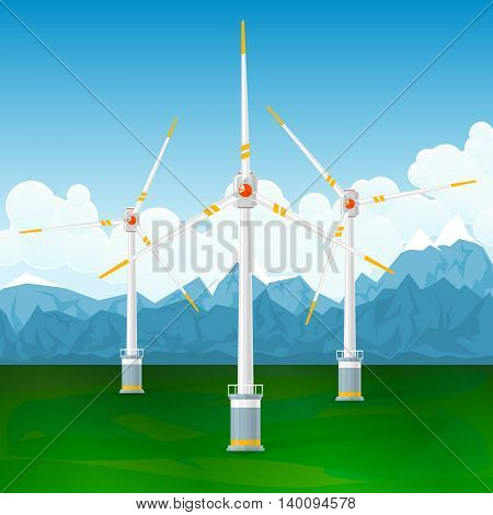 Wind Turbines on a Background of Mountains ,Horizontal Axis Wind Turbines on the Ground ,Modern Low-Wind Turbine, Vector Illustration