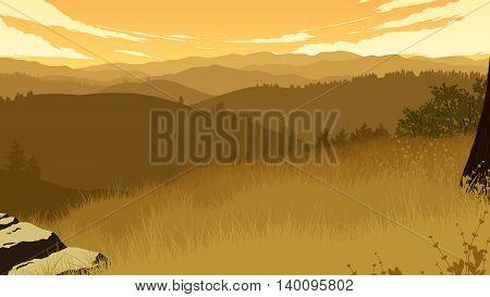 hills landscape flat color illustration in evening time