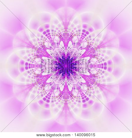 Abstract flower mandala on white background. Symmetrical pattern in blue purple and pink colors. Fantasy fractal design for postcards wallpapers posters or t-shirts. Digital art. 3D rendering.