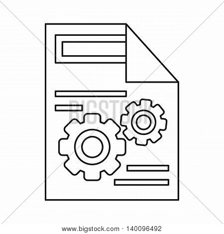 Gears on a paper icon in outline style on a white background