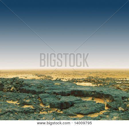 Igneous rock in desert