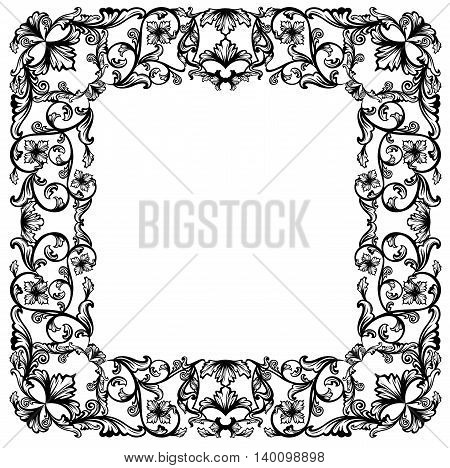 vintage style square floral frame - black and white vector design with flowers and swirls