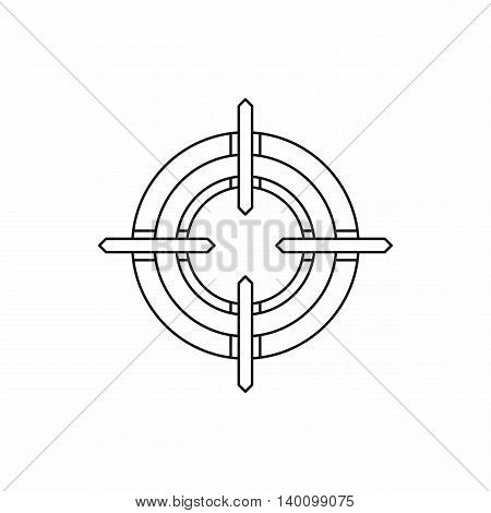 Crosshair reticle icon in outline style on a white background