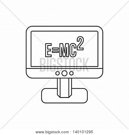 Computer monitor with the Theory of Relativity formula icon in outline style on a white background