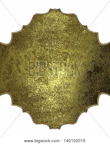 Golden Plate With Ornament And Place For Text. Template For Design. Copy Space For Ad Brochure Or An