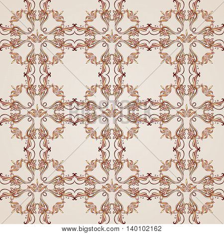 Seamless pattern with ornate florid elements in brown and rose pink shades