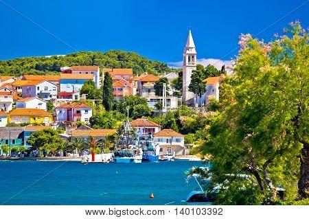Kali harbor and waterfront summer view Island of Ugljan Croatia