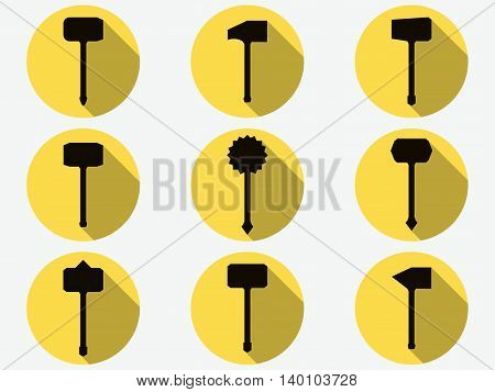Hammer icons. Labor tools. Set of ancient weapons. Vector illustration.