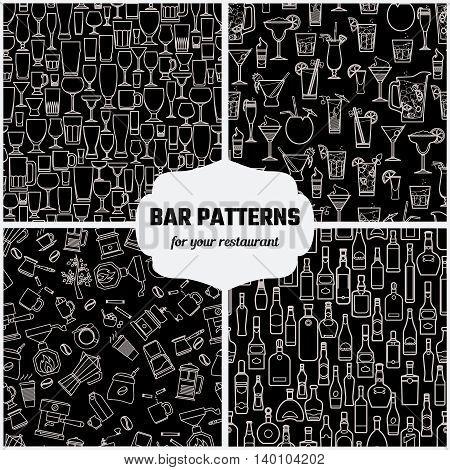 Vector Illustration of Drinks Seamless Pattern Outline for Design, Website, Background, Banner. Bar Element for Menu or Infographic Template. Glasses, Bottle, Cocktail, Coffee, tea