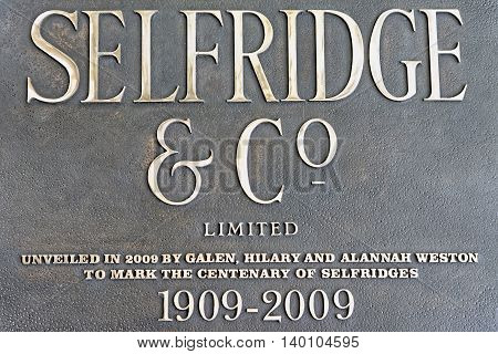 LONDON UK - JULY 1 2014: Selfridge department store plate on the store exterior in London.The only store to be named the Best Department Store in the World three times