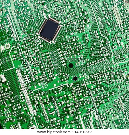 Green electronic board with chip poster