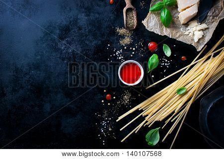 Food frame italian food background healthy food concept or ingredients for cooking pasta on a vintage background top viewwith copy space