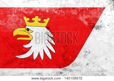 Flag Of Warmian-masurian Voivodeship, Poland, With A Vintage And