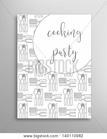 Cooking party invitation. Culinary school vector template