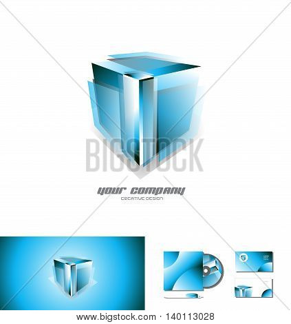Vector company logo icon element template transparent blue cube 3d design games media corporate business