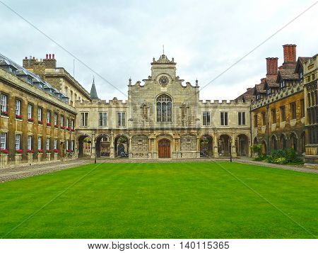 Courtyard view of the historic Peterhouse College the oldest college at the University of Cambridge.