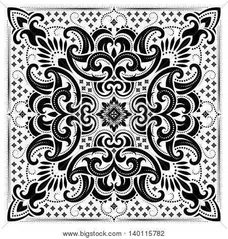 Vector ornament black and white paisley Bandana Print, silk neck scarf or kerchief square pattern design style for print on fabric.