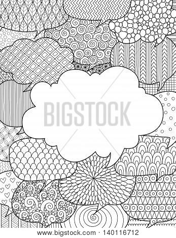 Doodle design of fun line art flowing out of laptop for adult coloring book pages for anti stress - Stock vector