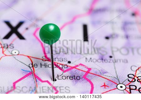 Loreto pinned on a map of Mexico