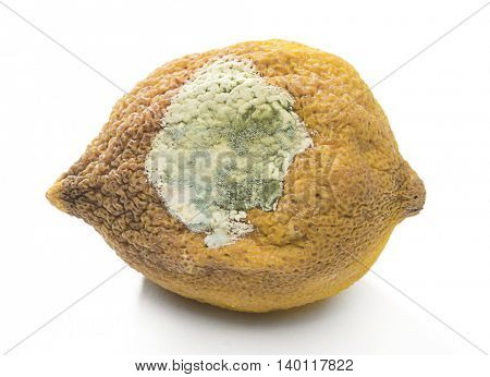 Rotten lemon close up isolated on white background