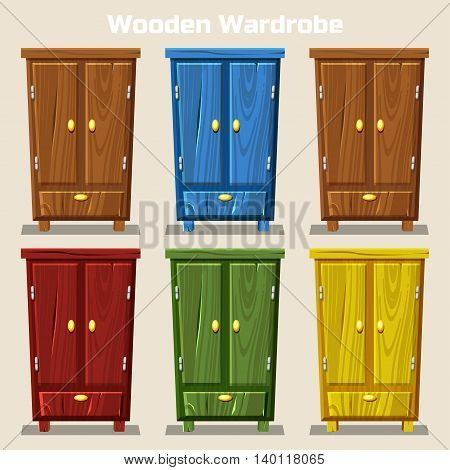 cartoon colorful closed wardrobe Living room wooden furniture in vector