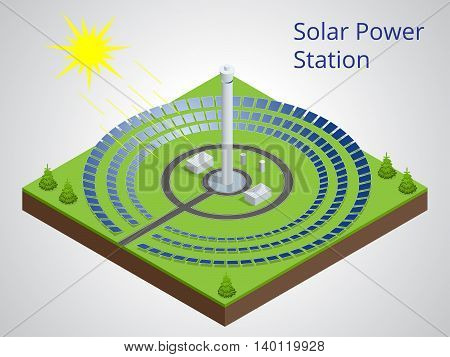 Vector isometric illustration of a solar power station. Extraction of energy from renewable sources. Generation of electricity using solar energy