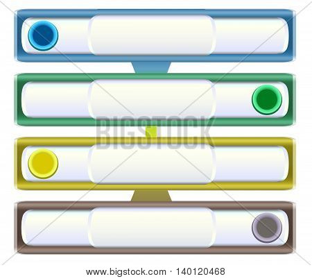 Infographics template with sliders, metal banners and buttons. Four metal banners with green, blue, yellow and brown sliders
