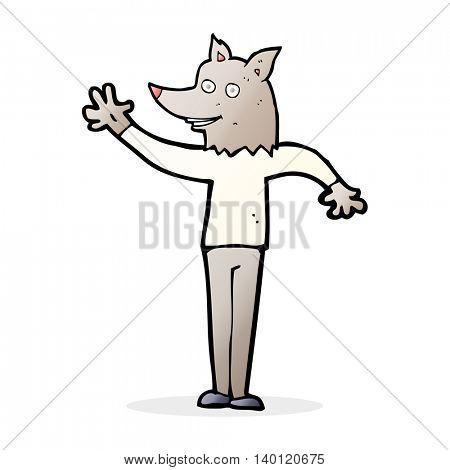 cartoon waving wolf man