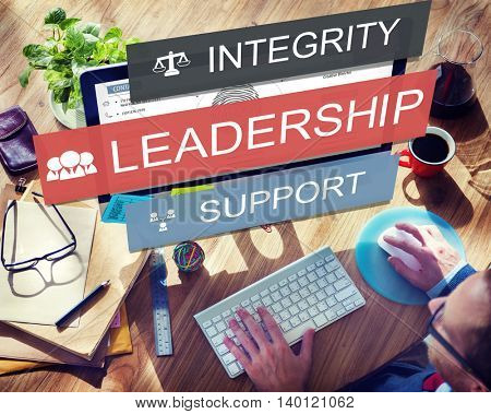 Leadership Lead Guiding Support Integrity Concept poster
