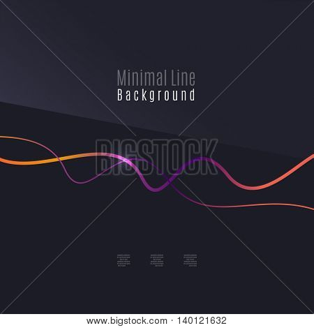 Abstract background. Wavy colorful swirly line on dark backdrop with light effects. Energy motion idea, business or techno minimal concept