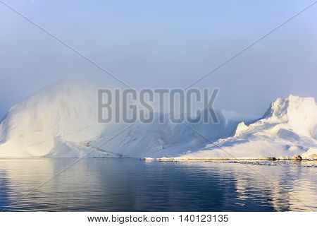 Huge glaciers are on the arctic ocean to Ilulissat icefjord, Greenland