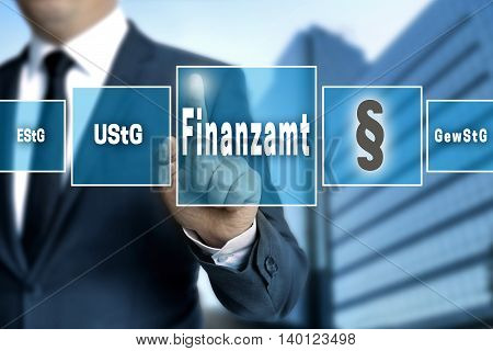 Finanzamt (in German Tax Authorities, Vat; Income, Trade Tax) Touchscreen Concept Background