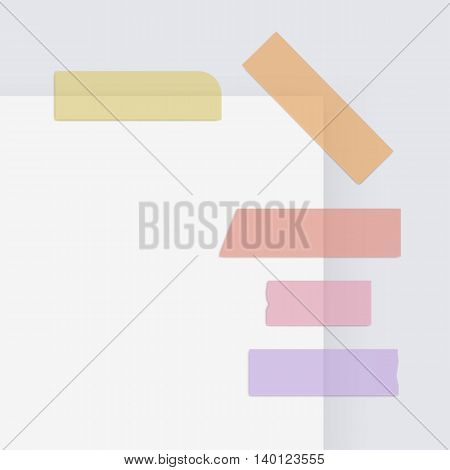 Vector Set of Colored Adhesive Masking Paper Sticky Scotch Strip Tapes Isolated on White Background