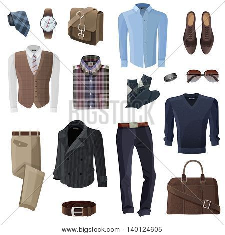 Flat fashion formal wear and accessories set for business man in shades of brown black and blue on white background isolated vector illustration