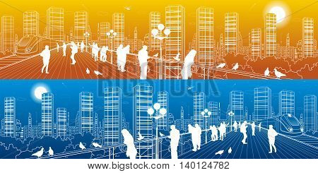 City life amazing panorama. Urban skyline, people watching from the bridge to the megalopolis, train move, infrastructure and transportation illustration, day and night, vector design art
