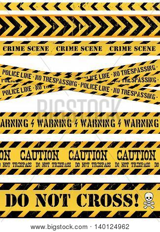 Illustration of a set of seamless grunge police and do not cross lines danger sign crime and warning tapes