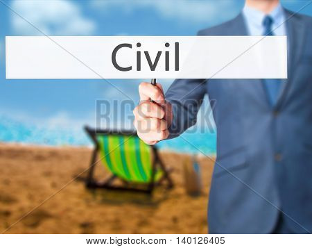 Civil - Businessman Hand Holding Sign