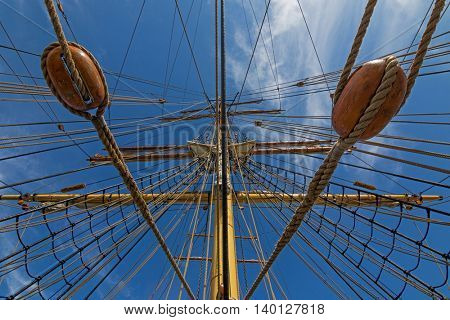 Closeup details of James Craig mast and rigging, three masted barque, sailing ship at Darling Harbour, Sydney, New South Wales NSW Australia