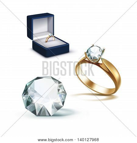 Vector Gold Engagement Ring with White Shiny Clear Diamond in Blue Jewelry box Close up Isolated on White Background