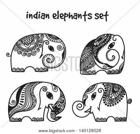 Vector indian elephants set. Stock mehndi set for design on white background.